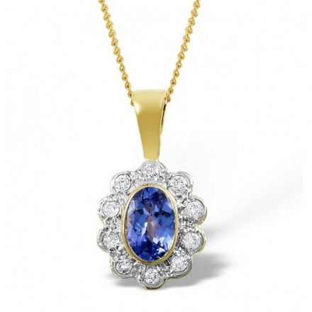 18K Gold 0.10ct Diamond & 6mm x 4mm Tanzanite Pendant, DCP04-T